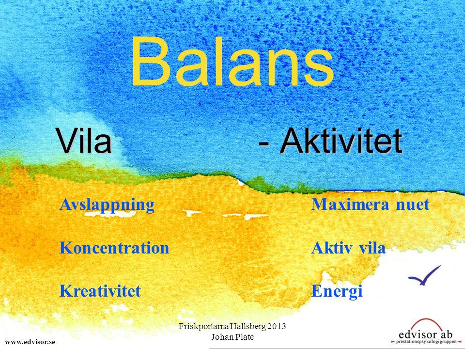 Balans www.edvisor.se Vila - Aktivitet Avslappning Koncentration Kreativitet Maximera nuet Aktiv vila Energi Friskportarna Hallsberg 2013 Johan Plate