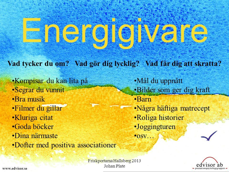 Energigivare www.edvisor.se Vad tycker du om? Vad gör dig lycklig? Vad får dig att skratta? Kompisar du kan lita på Segrar du vunnit Bra musik Filmer