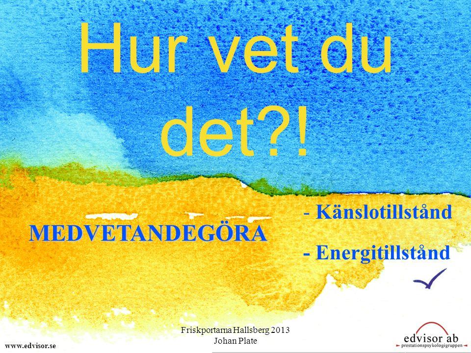 Hur vet du det?! MEDVETANDEGÖRA - Känslotillstånd - Energitillstånd www.edvisor.se Friskportarna Hallsberg 2013 Johan Plate
