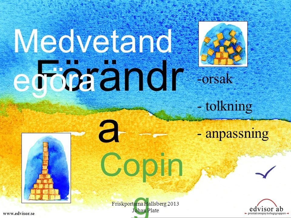 Om du för en stund tappar balansen – så kanske du ramlar – och hittar nåt! www.edvisor.se Friskportarna Hallsberg 2013 Johan Plate