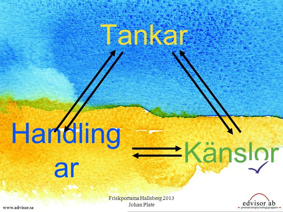 Tankar Handling ar Känslor www.edvisor.se Friskportarna Hallsberg 2013 Johan Plate