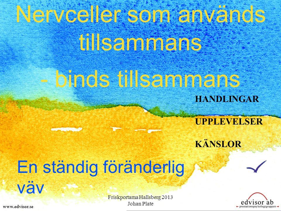 Nervceller som används tillsammans - binds tillsammans www.edvisor.se HANDLINGAR UPPLEVELSER KÄNSLOR En ständig föränderlig väv Friskportarna Hallsberg 2013 Johan Plate