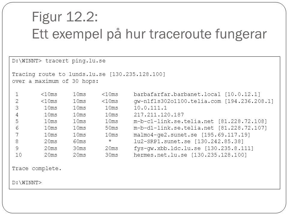 Figur 12.3: Ett exempel på hur Nslookup fungerar D:\WINNT>nslookup ping.lu.se Server: barbafarfar.barbanet.local Address: 10.0.12.1 Non-authoritative answer: Name: lundns.lu.se Address: 130.235.128.100 Aliases: ping.lu.se D:\WINNT>nslookup 130.235.128.100 Server: barbafarfar.barbanet.local Address: 10.0.12.1 Name: hermes.net.lu.se Address: 135.235.128.100 D:\WINNT>