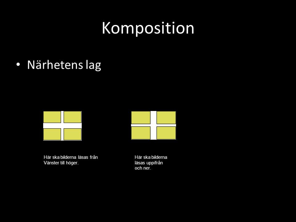 Komposition Närhetens lag Här ska bilderna läsas från Vänster till höger. Här ska bilderna läsas uppifrån och ner.