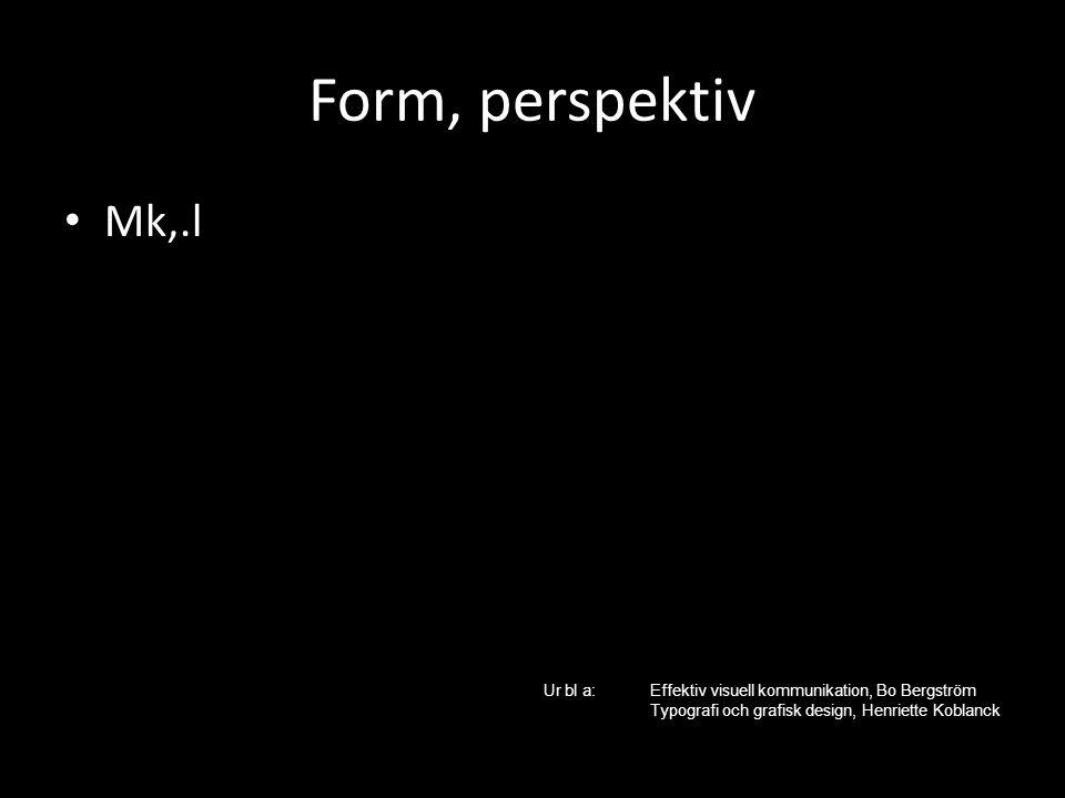 Form, perspektiv Mk,.l Ur bl a:Effektiv visuell kommunikation, Bo Bergström Typografi och grafisk design, Henriette Koblanck