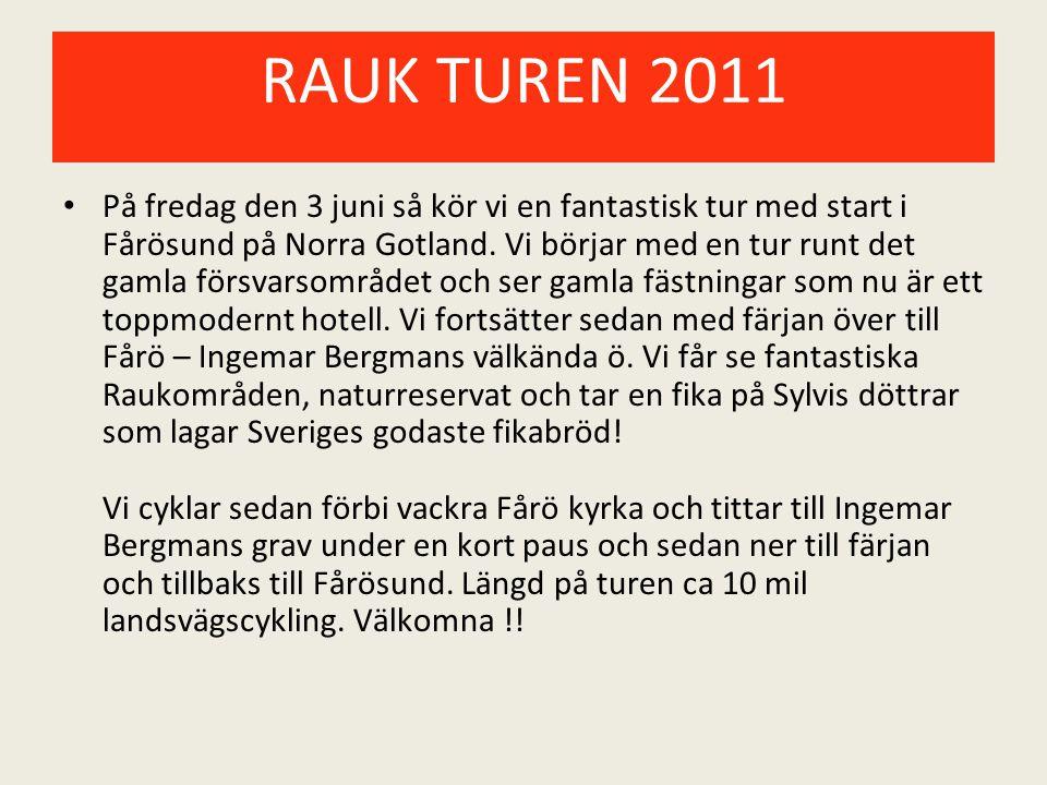 RAUK TUREN 2011 På fredag den 3 juni så kör vi en fantastisk tur med start i Fårösund på Norra Gotland. Vi börjar med en tur runt det gamla försvarsom