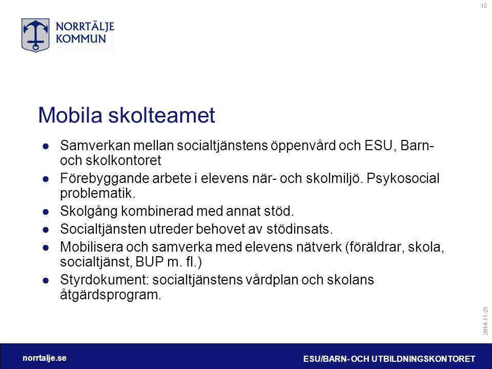 norrtalje.se 2014-11-21 ESU/BARN- OCH UTBILDNINGSKONTORET 10 Mobila skolteamet ●Samverkan mellan socialtjänstens öppenvård och ESU, Barn- och skolkont