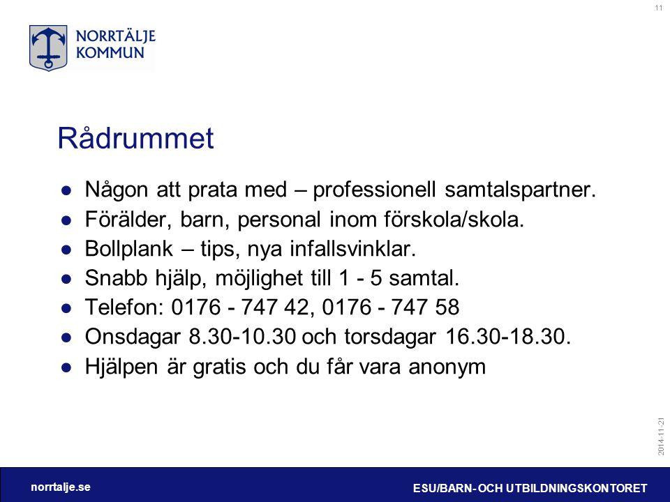 norrtalje.se 2014-11-21 ESU/BARN- OCH UTBILDNINGSKONTORET 11 Rådrummet ●Någon att prata med – professionell samtalspartner. ●Förälder, barn, personal