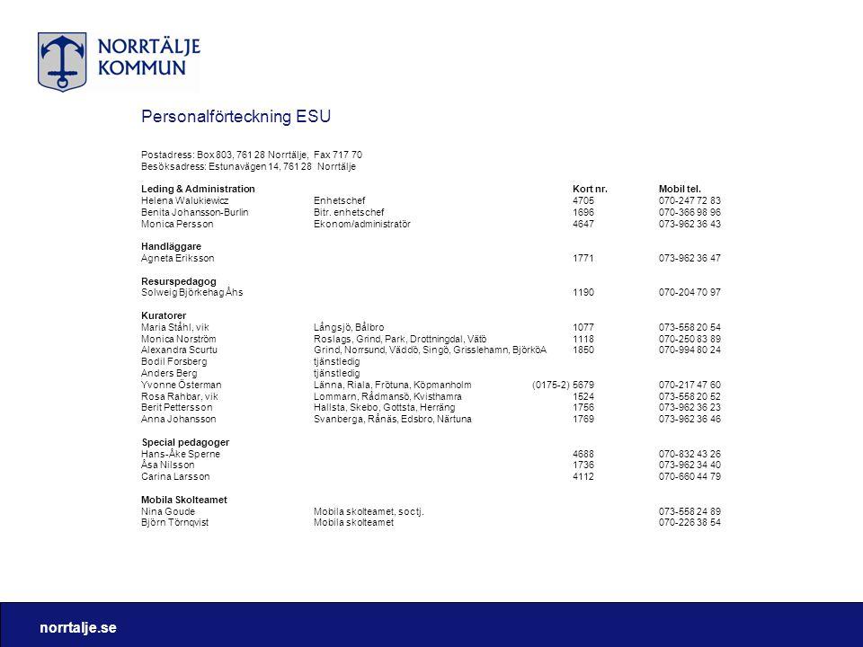 norrtalje.se Personalförteckning ESU Postadress: Box 803, 761 28 Norrtälje, Fax 717 70 Besöksadress: Estunavägen 14, 761 28 Norrtälje Leding & Adminis