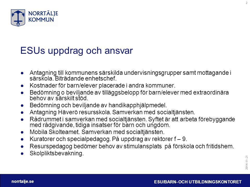 norrtalje.se 2014-11-21 ESU/BARN- OCH UTBILDNINGSKONTORET 2 ESUs uppdrag och ansvar ●Antagning till kommunens särskilda undervisningsgrupper samt mott