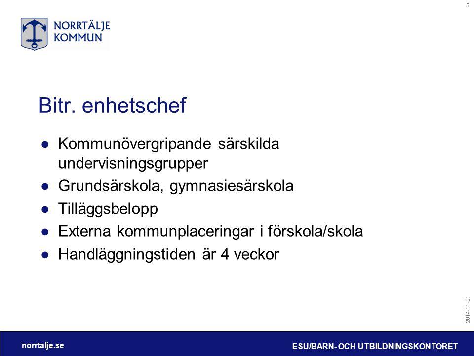 norrtalje.se 2014-11-21 ESU/BARN- OCH UTBILDNINGSKONTORET 5 Bitr. enhetschef ●Kommunövergripande särskilda undervisningsgrupper ●Grundsärskola, gymnas