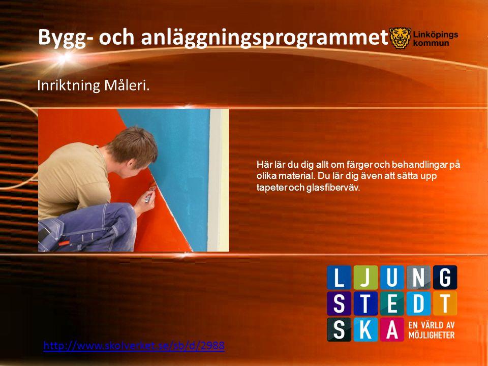 Bygg- och anläggningsprogrammet Inriktning Måleri. Här lär du dig allt om färger och behandlingar på olika material. Du lär dig även att sätta upp tap