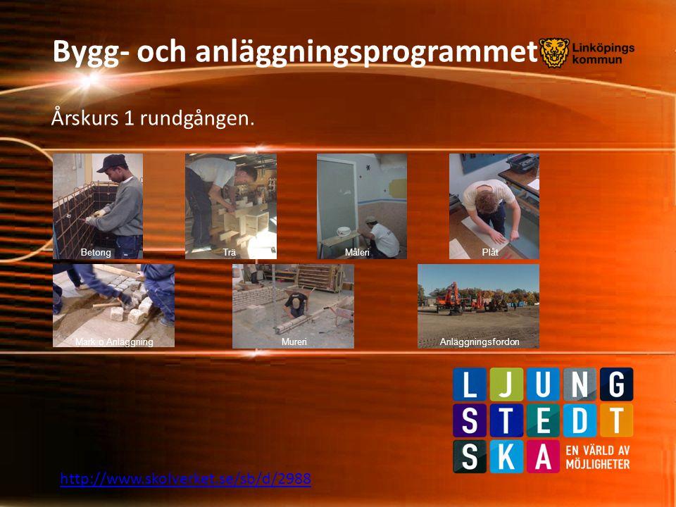 Bygg- och anläggningsprogrammet Årskurs 1 rundgången. http://www.skolverket.se/sb/d/2988 BetongTrä Mark o AnläggningMureriAnläggningsfordon MåleriPlåt
