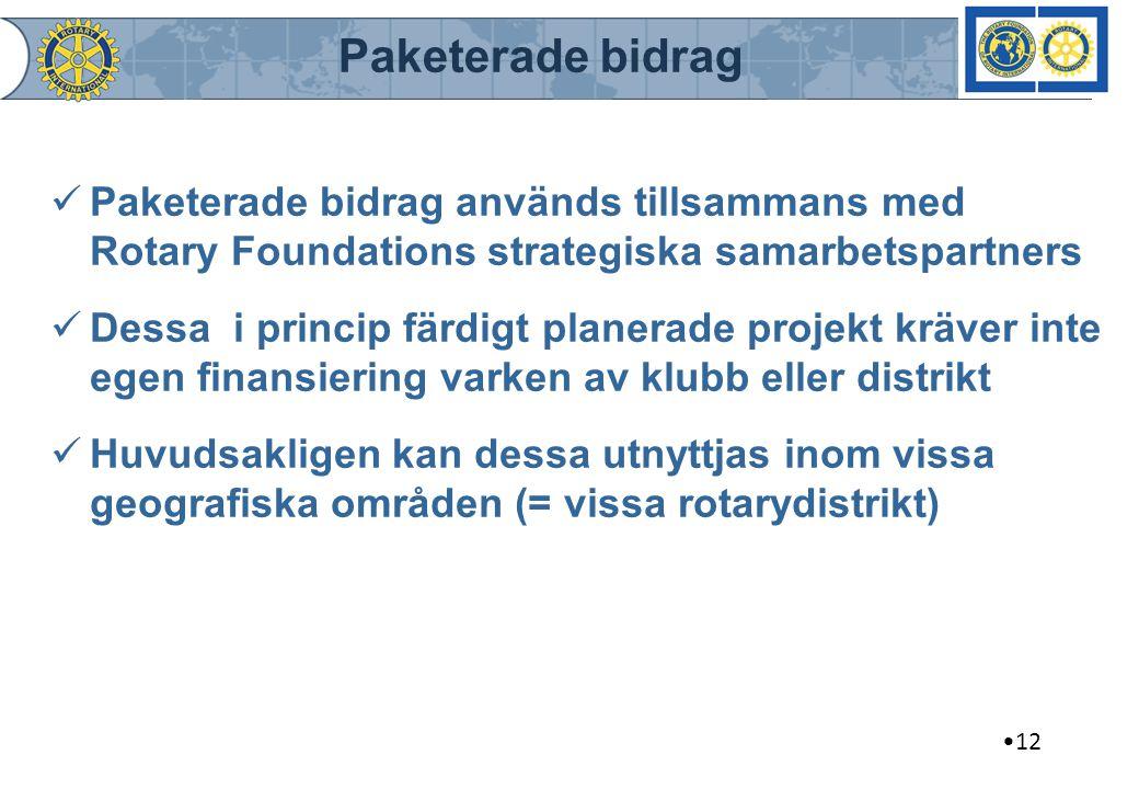Paketerade bidrag Paketerade bidrag används tillsammans med Rotary Foundations strategiska samarbetspartners Dessa i princip färdigt planerade projekt