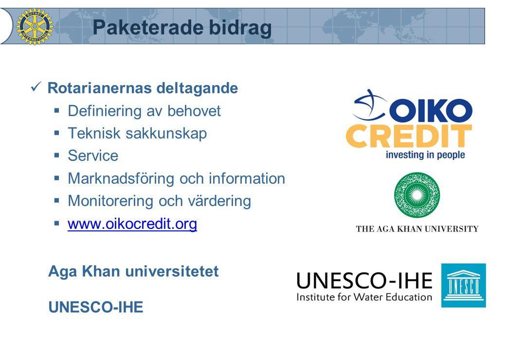 Paketerade bidrag Rotarianernas deltagande  Definiering av behovet  Teknisk sakkunskap  Service  Marknadsföring och information  Monitorering och