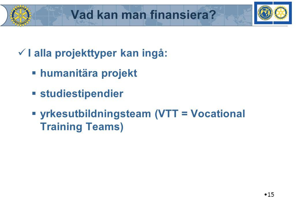 Vad kan man finansiera? I alla projekttyper kan ingå:  humanitära projekt  studiestipendier  yrkesutbildningsteam (VTT = Vocational Training Teams)