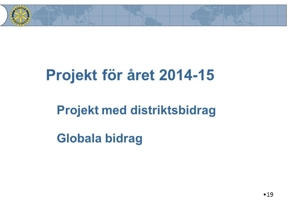 19 Projekt för året 2014-15 Projekt med distriktsbidrag Globala bidrag
