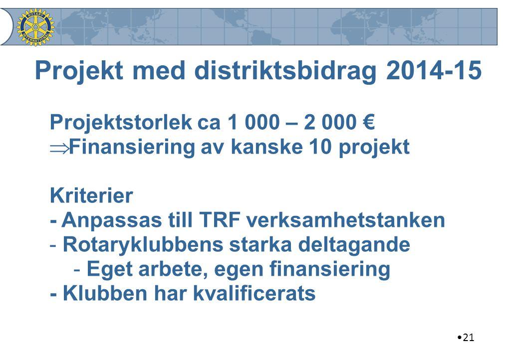 21 Projekt med distriktsbidrag 2014-15 Projektstorlek ca 1 000 – 2 000 €  Finansiering av kanske 10 projekt Kriterier - Anpassas till TRF verksamhets