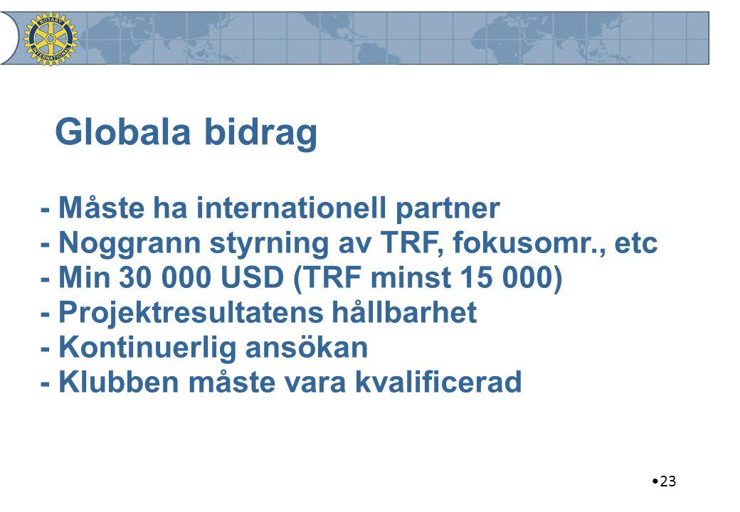 23 Globala bidrag - Måste ha internationell partner - Noggrann styrning av TRF, fokusomr., etc - Min 30 000 USD (TRF minst 15 000) - Projektresultaten