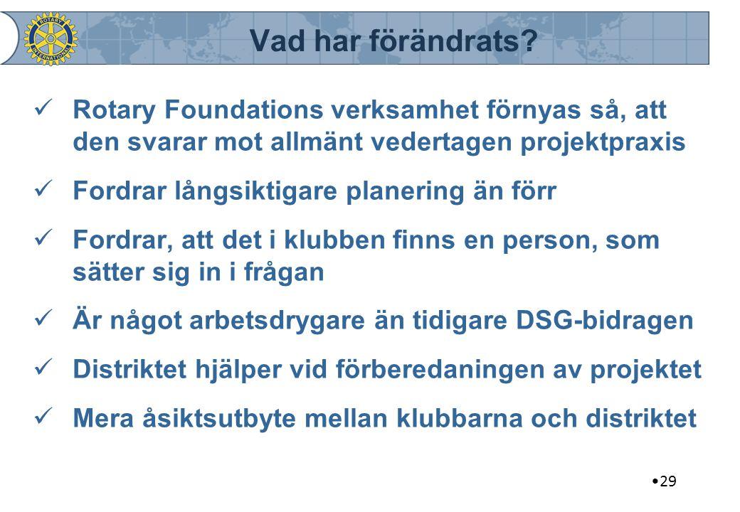 Vad har förändrats? Rotary Foundations verksamhet förnyas så, att den svarar mot allmänt vedertagen projektpraxis Fordrar långsiktigare planering än f