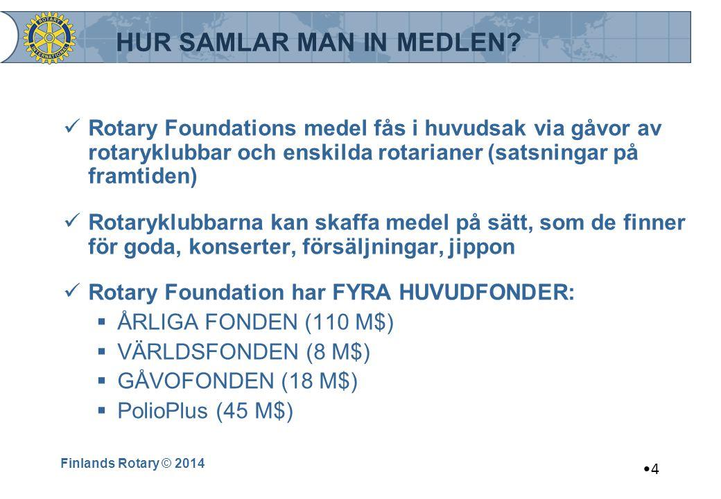 Finlands Rotary © 2014 4 HUR SAMLAR MAN IN MEDLEN? Rotary Foundations medel fås i huvudsak via gåvor av rotaryklubbar och enskilda rotarianer (satsnin