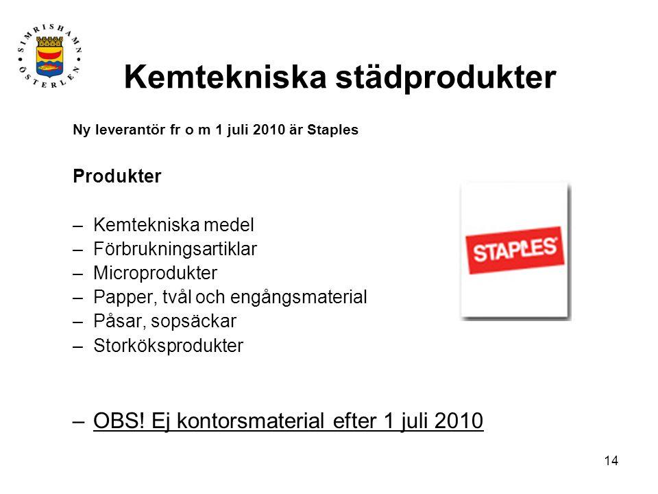 14 Kemtekniska städprodukter Ny leverantör fr o m 1 juli 2010 är Staples Produkter –Kemtekniska medel –Förbrukningsartiklar –Microprodukter –Papper, tvål och engångsmaterial –Påsar, sopsäckar –Storköksprodukter –OBS.