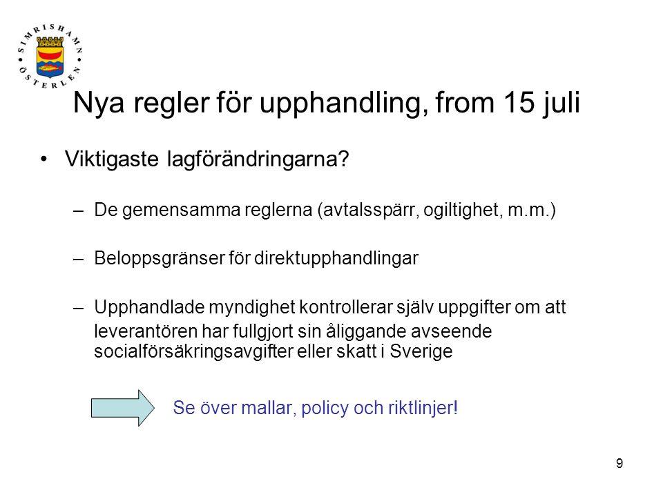 9 Nya regler för upphandling, from 15 juli Viktigaste lagförändringarna? –De gemensamma reglerna (avtalsspärr, ogiltighet, m.m.) –Beloppsgränser för d