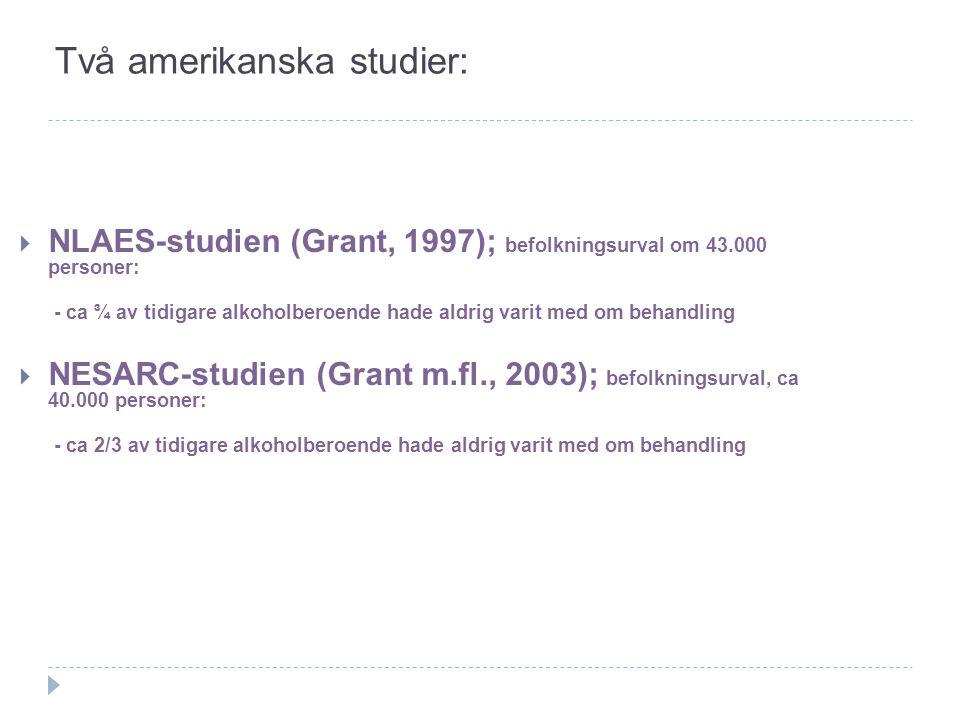 Två amerikanska studier:  NLAES-studien (Grant, 1997); befolkningsurval om 43.000 personer: - ca ¾ av tidigare alkoholberoende hade aldrig varit med