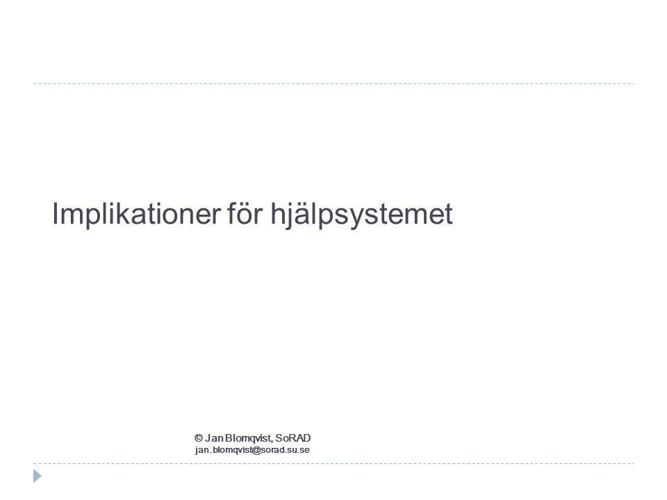 Implikationer för hjälpsystemet © Jan Blomqvist, SoRAD jan.blomqvist@sorad.su.se