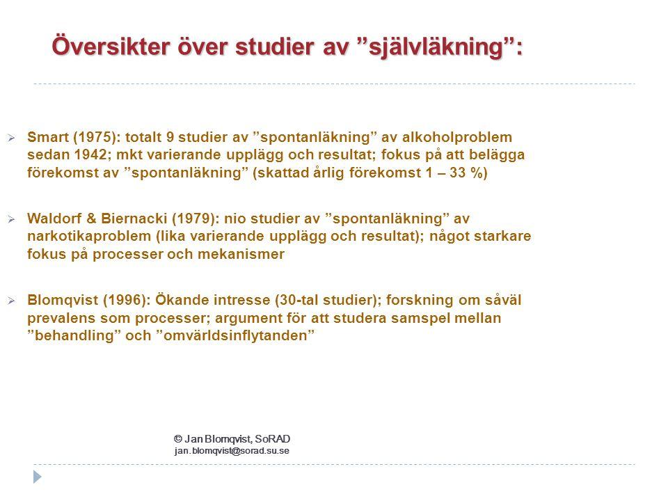 """ Smart (1975): totalt 9 studier av """"spontanläkning"""" av alkoholproblem sedan 1942; mkt varierande upplägg och resultat; fokus på att belägga förekomst"""