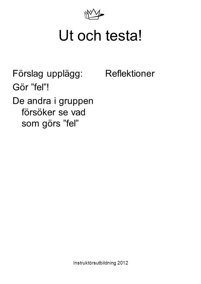 """Instruktörsutbildning 2012 Ut och testa! Förslag upplägg: Gör """"fel""""! De andra i gruppen försöker se vad som görs """"fel"""" Reflektioner"""