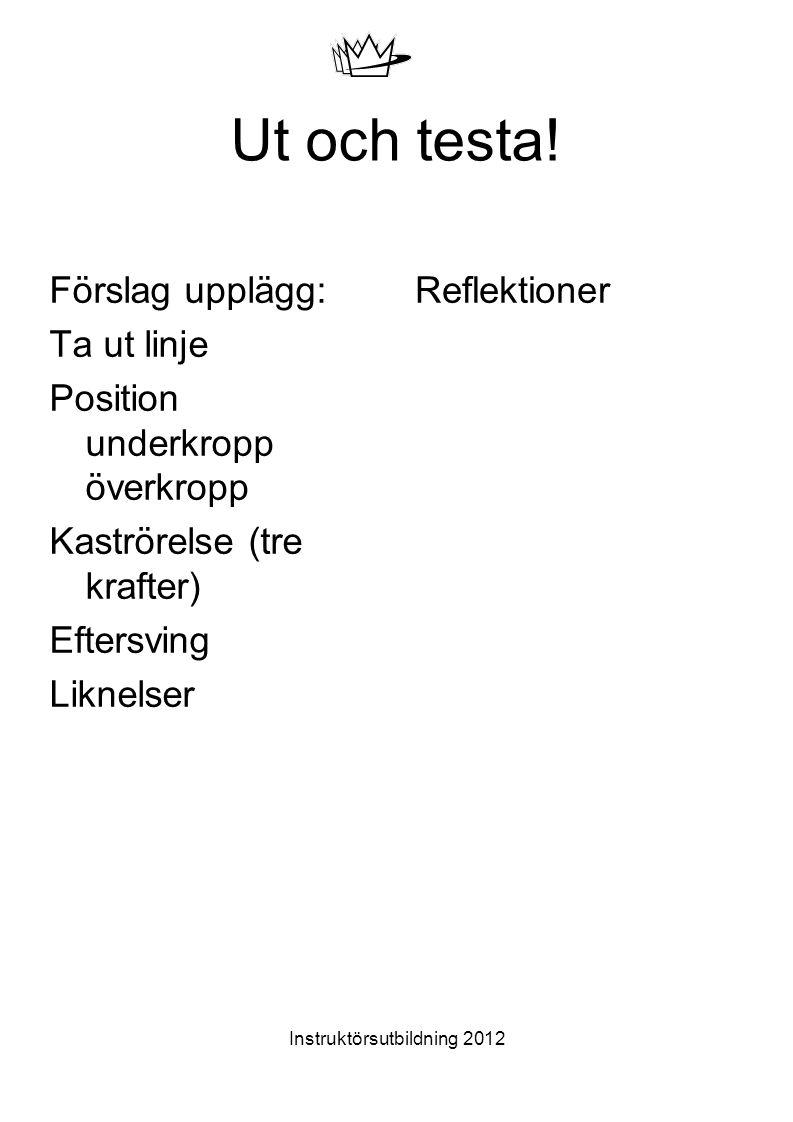 Instruktörsutbildning 2012 Ut och testa! Förslag upplägg: Ta ut linje Position underkropp överkropp Kaströrelse (tre krafter) Eftersving Liknelser Ref
