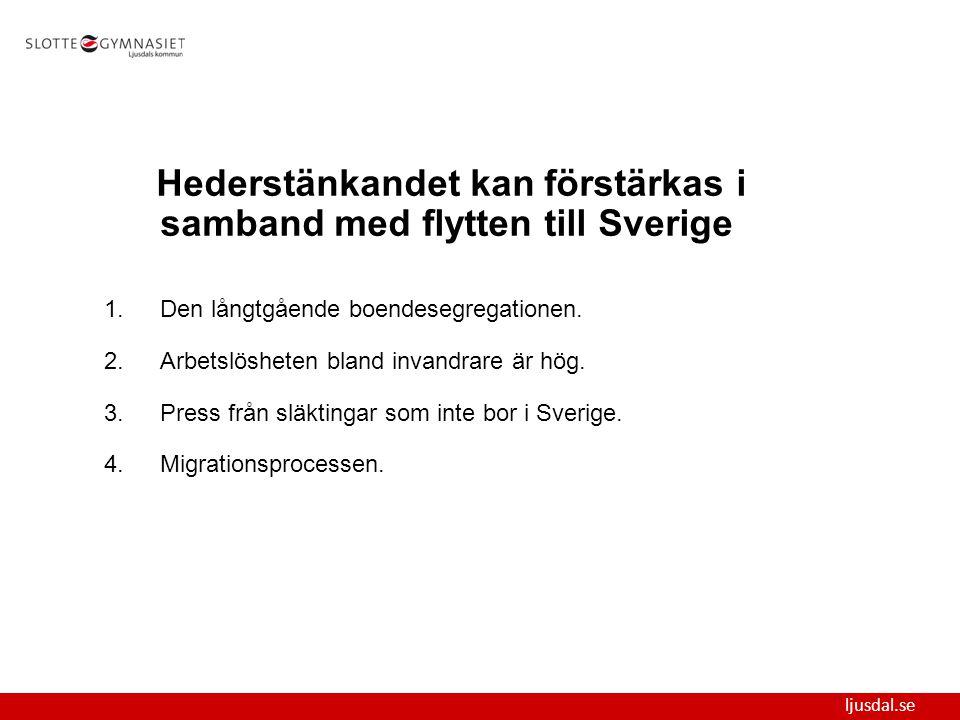 ljusdal.se Hederstänkandet kan förstärkas i samband med flytten till Sverige 1.Den långtgående boendesegregationen. 2.Arbetslösheten bland invandrare
