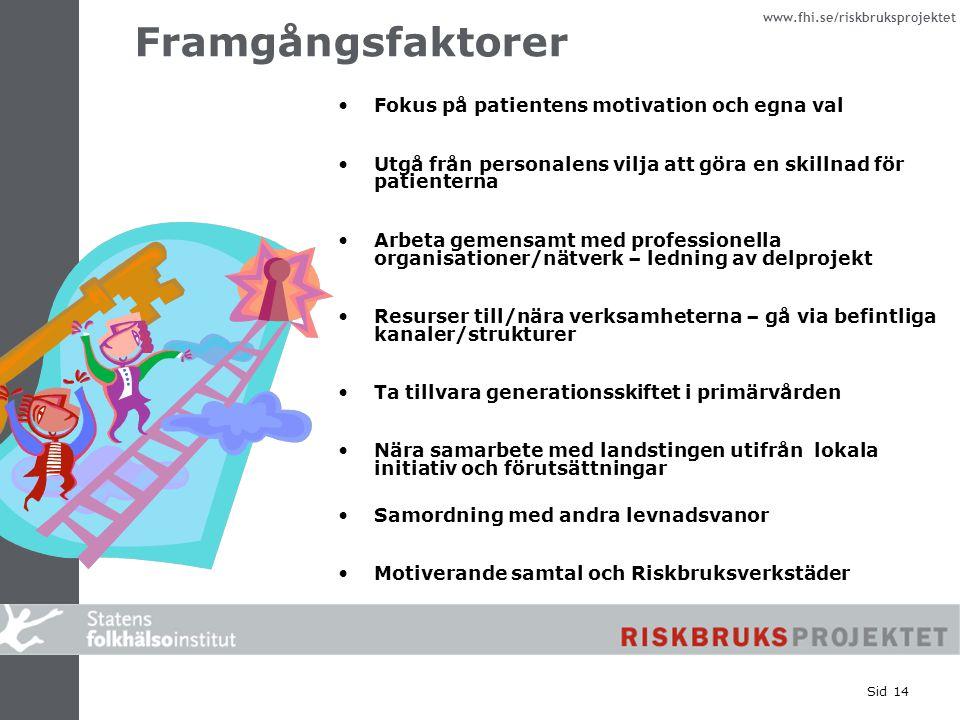 www.fhi.se/riskbruksprojektet Sid 14 Framgångsfaktorer Fokus på patientens motivation och egna val Utgå från personalens vilja att göra en skillnad fö