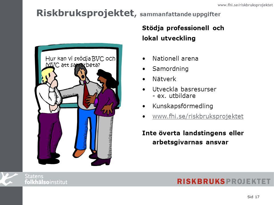www.fhi.se/riskbruksprojektet Sid 17 Stödja professionell och lokal utveckling Nationell arena Samordning Nätverk Utveckla basresurser - ex. utbildare