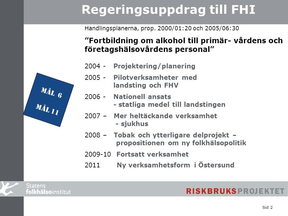 """www.fhi.se/riskbruksprojektet Sid 2 www.fhi.se/ riskbruksprojektet Regeringsuppdrag till FHI Handlingsplanerna, prop. 2000/01:20 och 2005/06:30 """"Fortb"""