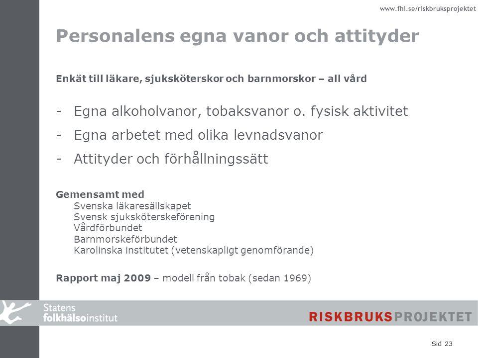 www.fhi.se/riskbruksprojektet Sid 23 Personalens egna vanor och attityder Enkät till läkare, sjuksköterskor och barnmorskor – all vård -Egna alkoholva