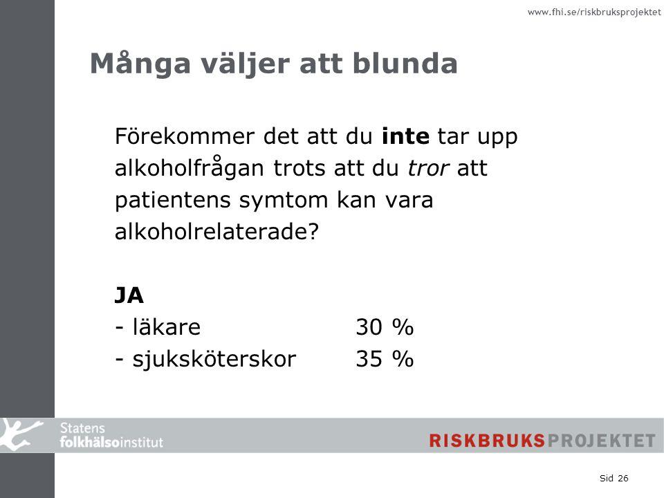 www.fhi.se/riskbruksprojektet Sid 26 Många väljer att blunda Förekommer det att du inte tar upp alkoholfrågan trots att du tror att patientens symtom