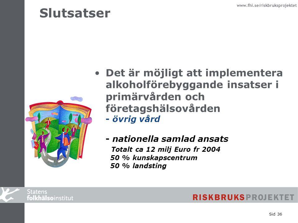 www.fhi.se/riskbruksprojektet Sid 36 Slutsatser Det är möjligt att implementera alkoholförebyggande insatser i primärvården och företagshälsovården -