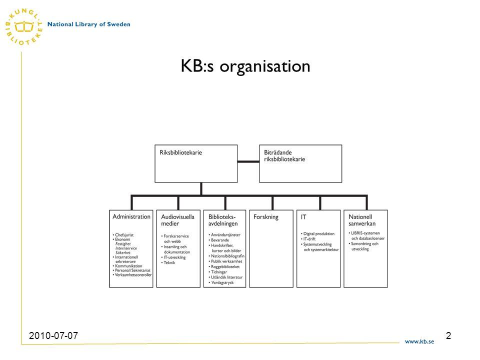 www.kb.se 2010-07-072 KB:s organisation