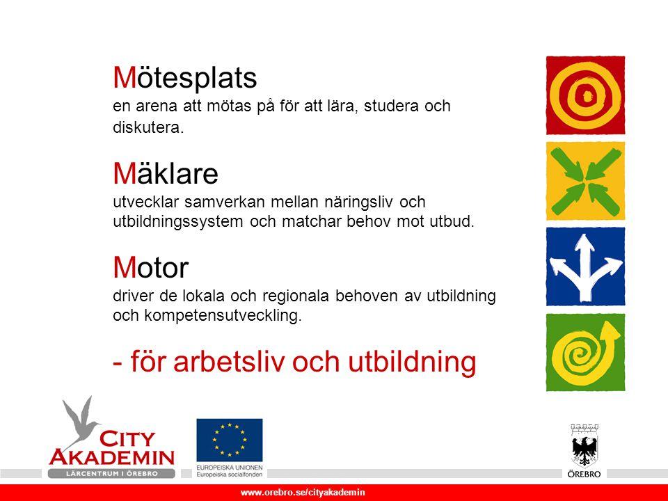 www.orebro.se/cityakademin Risk 1 9 företag 455 kvinnor, 1290 män Företagen utvalda att de drabbats hårt av konjunkturnedgången och att många mindre företag i regionen är knutna till dem som underleverantörer Kompetensutveckling för strategiskt viktiga företag i Örebro Län Genomförandeprojekt, 9 företag/ca 2000 deltagare Projekttid: 090401-110331 Projektägare: Örebro kommun Samverkande kommuner: Lindesberg,Karlskoga