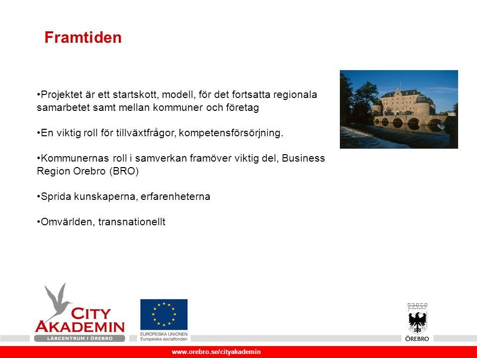 www.orebro.se/cityakademin Framtiden Projektet är ett startskott, modell, för det fortsatta regionala samarbetet samt mellan kommuner och företag En viktig roll för tillväxtfrågor, kompetensförsörjning.