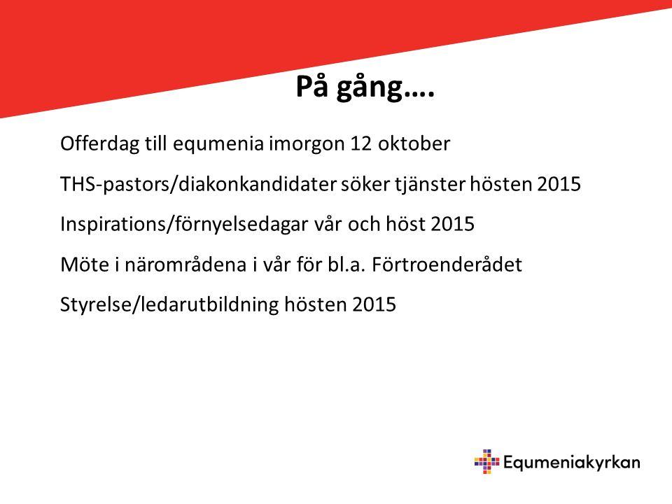 På gång…. Offerdag till equmenia imorgon 12 oktober THS-pastors/diakonkandidater söker tjänster hösten 2015 Inspirations/förnyelsedagar vår och höst 2