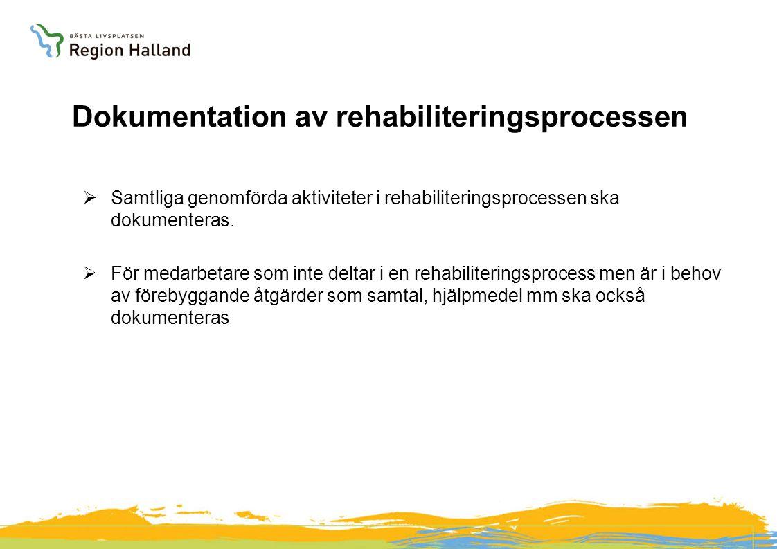 Dokumentation av rehabiliteringsprocessen  Samtliga genomförda aktiviteter i rehabiliteringsprocessen ska dokumenteras.