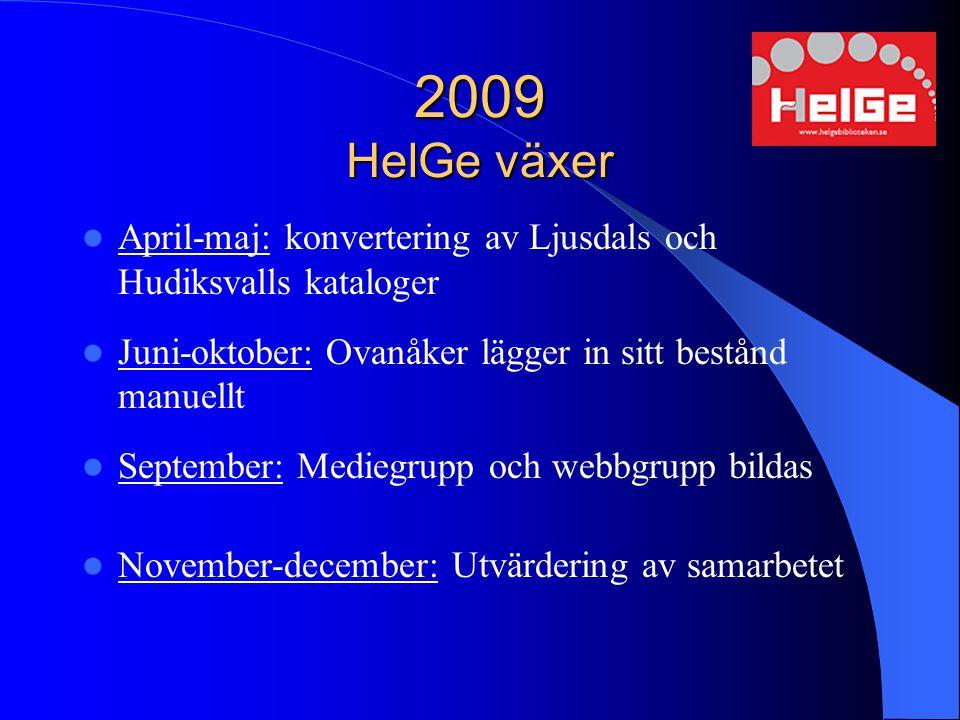 2009 HelGe växer April-maj: konvertering av Ljusdals och Hudiksvalls kataloger Juni-oktober: Ovanåker lägger in sitt bestånd manuellt September: Medie