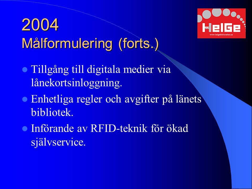 2004 Målformulering (forts.) Tillgång till digitala medier via lånekortsinloggning. Enhetliga regler och avgifter på länets bibliotek. Införande av RF