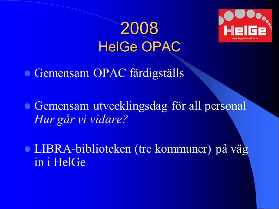 2008 HelGe OPAC Gemensam OPAC färdigställs Gemensam utvecklingsdag för all personal Hur går vi vidare? LIBRA-biblioteken (tre kommuner) på väg in i He
