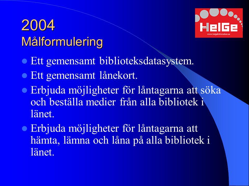2004 Målformulering Ett gemensamt biblioteksdatasystem. Ett gemensamt lånekort. Erbjuda möjligheter för låntagarna att söka och beställa medier från a