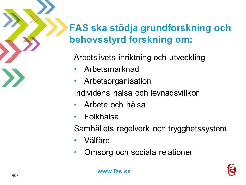 www.fas.forskning.se www.fas.se 2007 FAS ska stödja grundforskning och behovsstyrd forskning om: Arbetslivets inriktning och utveckling Arbetsmarknad Arbetsorganisation Individens hälsa och levnadsvillkor Arbete och hälsa Folkhälsa Samhällets regelverk och trygghetssystem Välfärd Omsorg och sociala relationer