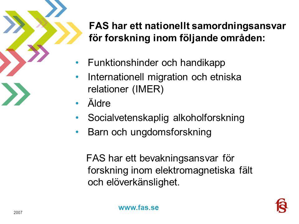www.fas.forskning.se www.fas.se 2007 FAS har ett nationellt samordningsansvar för forskning inom följande områden: Funktionshinder och handikapp Internationell migration och etniska relationer (IMER) Äldre Socialvetenskaplig alkoholforskning Barn och ungdomsforskning FAS har ett bevakningsansvar för forskning inom elektromagnetiska fält och elöverkänslighet.